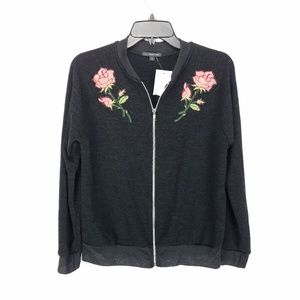 West Kei Floral Embroidered Knit Bomber Jacket